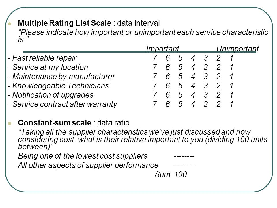 Multiple Rating List Scale : data interval