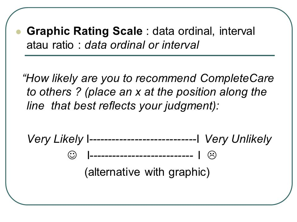 Graphic Rating Scale : data ordinal, interval atau ratio : data ordinal or interval