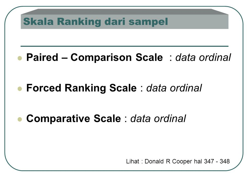Skala Ranking dari sampel