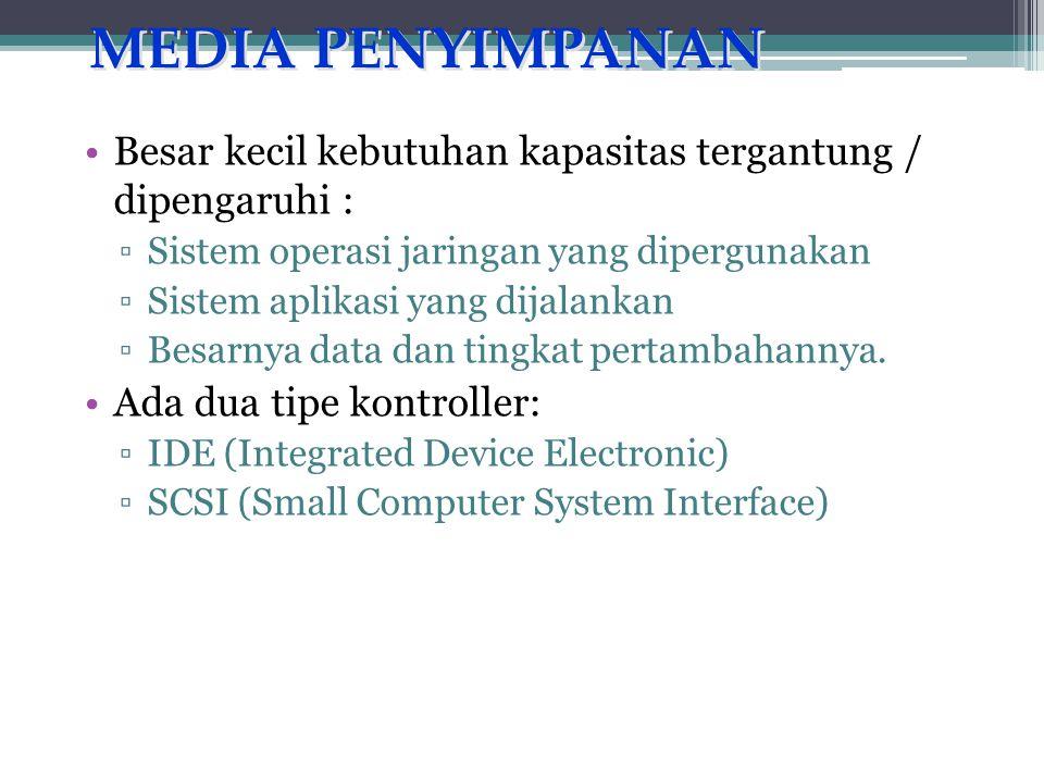 MEDIA PENYIMPANAN Besar kecil kebutuhan kapasitas tergantung / dipengaruhi : Sistem operasi jaringan yang dipergunakan.