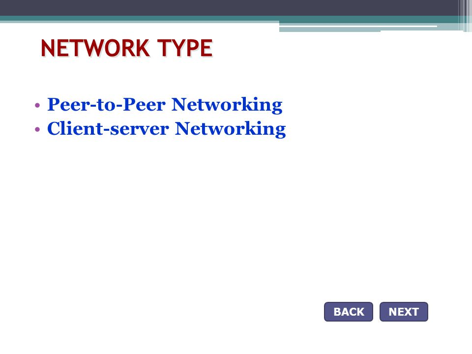 NETWORK TYPE Peer-to-Peer Networking Client-server Networking BACK