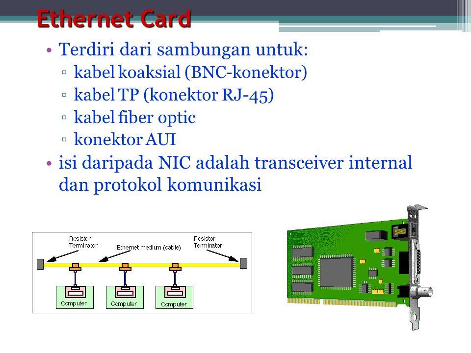 Ethernet Card Terdiri dari sambungan untuk: