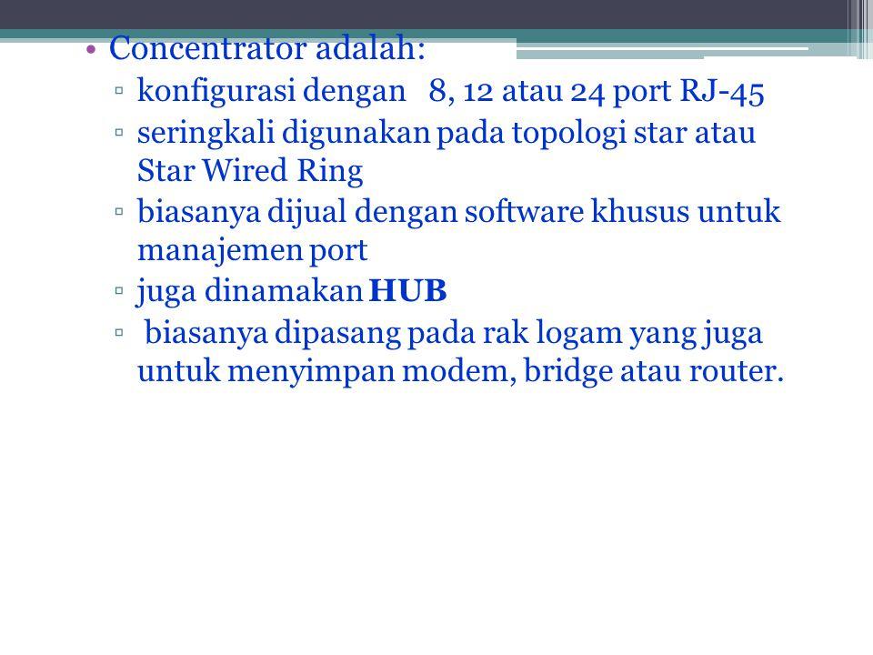 Concentrator adalah: konfigurasi dengan 8, 12 atau 24 port RJ-45