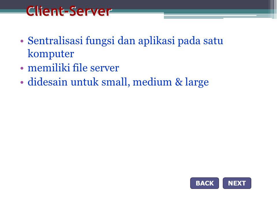 Client-Server Sentralisasi fungsi dan aplikasi pada satu komputer