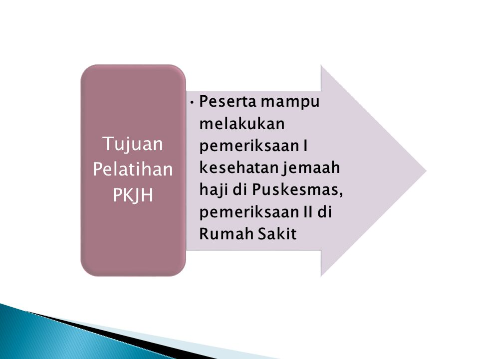 Tujuan Pelatihan PKJH Peserta mampu melakukan pemeriksaan I kesehatan jemaah haji di Puskesmas, pemeriksaan II di Rumah Sakit.