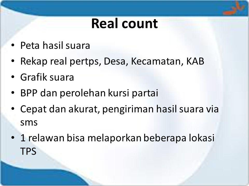 Real count Peta hasil suara Rekap real pertps, Desa, Kecamatan, KAB