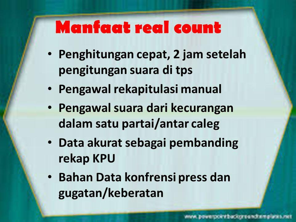 Manfaat real count Penghitungan cepat, 2 jam setelah pengitungan suara di tps. Pengawal rekapitulasi manual.