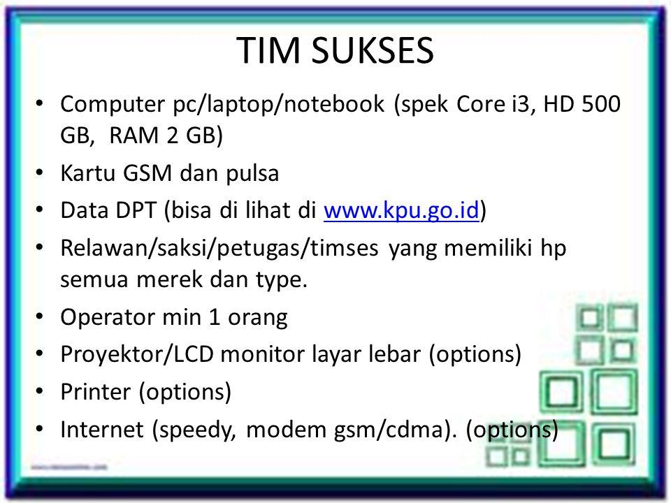 TIM SUKSES Computer pc/laptop/notebook (spek Core i3, HD 500 GB, RAM 2 GB) Kartu GSM dan pulsa. Data DPT (bisa di lihat di www.kpu.go.id)