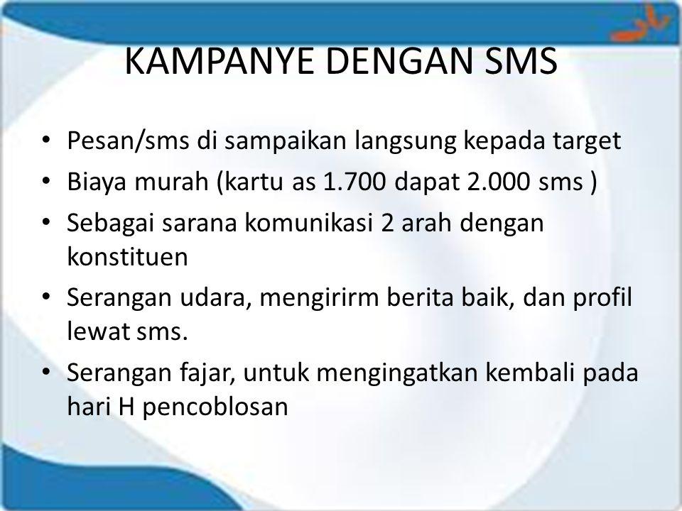 KAMPANYE DENGAN SMS Pesan/sms di sampaikan langsung kepada target