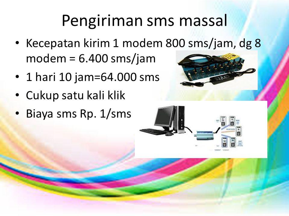 Pengiriman sms massal Kecepatan kirim 1 modem 800 sms/jam, dg 8 modem = 6.400 sms/jam. 1 hari 10 jam=64.000 sms.