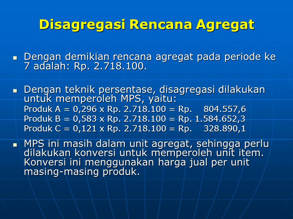 Disagregasi Rencana Agregat