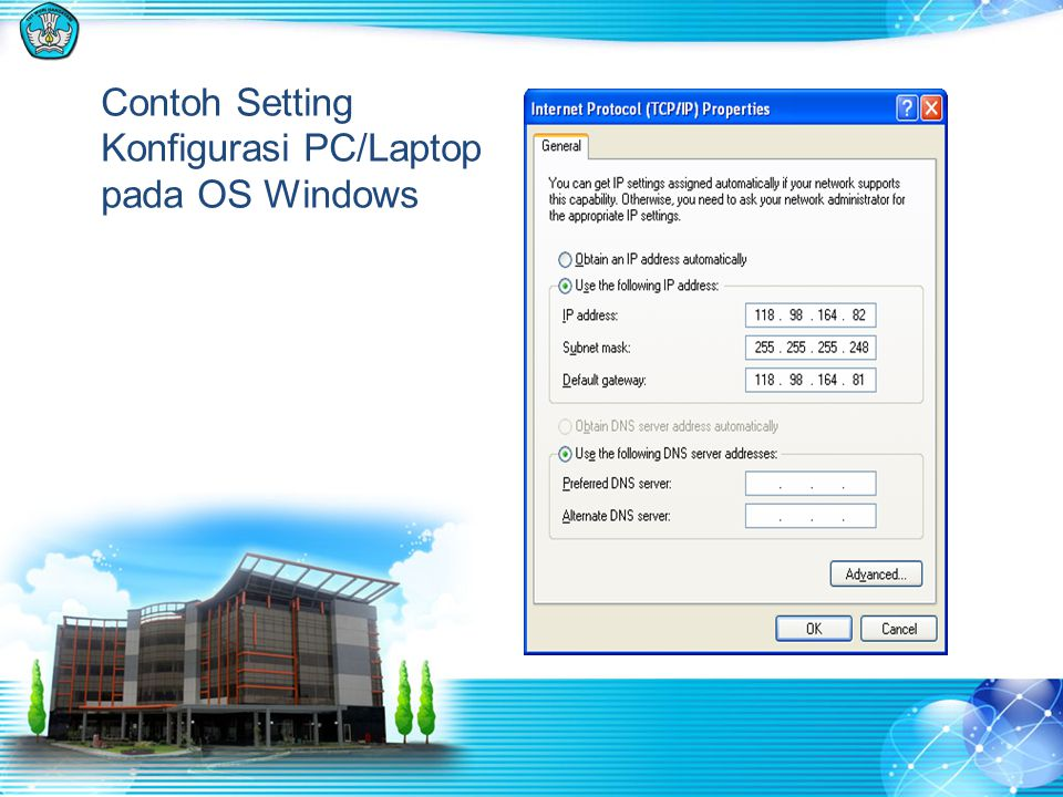 Contoh Setting Konfigurasi PC/Laptop pada OS Windows
