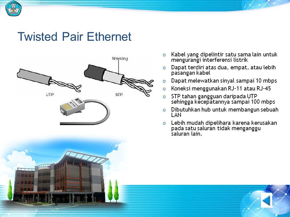 Twisted Pair Ethernet Kabel yang dipelintir satu sama lain untuk mengurangi interferensi listrik.