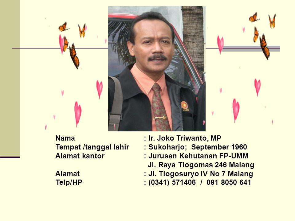 Nama : Ir. Joko Triwanto, MP