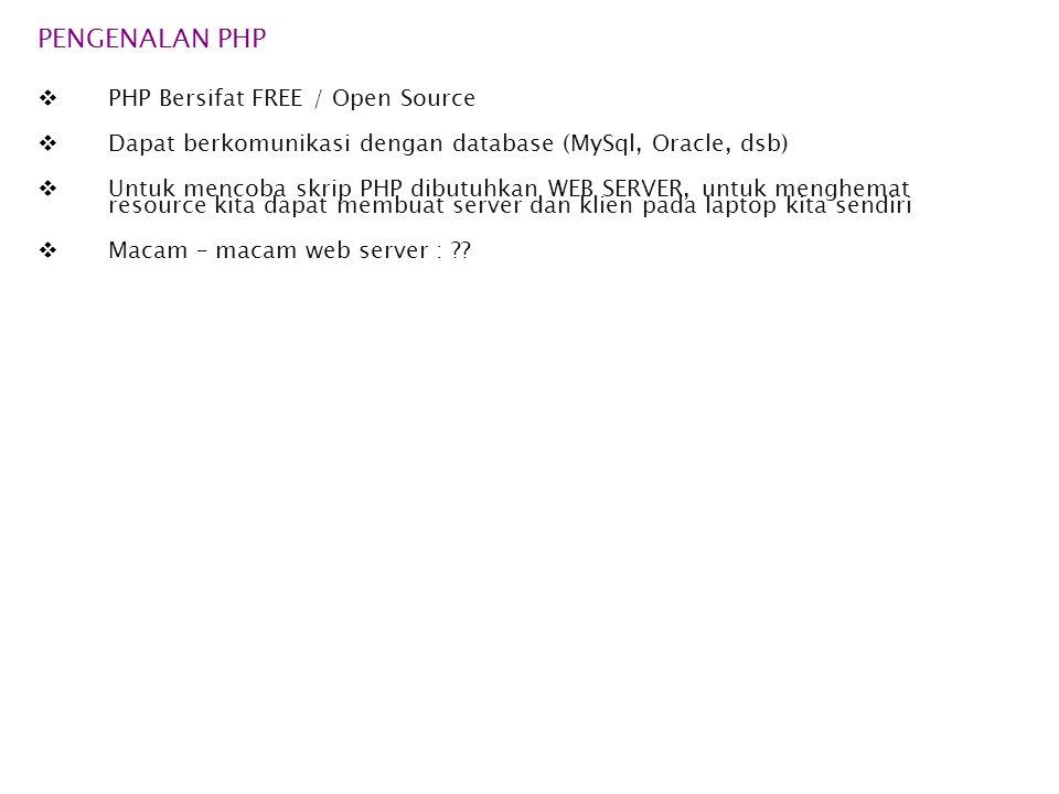 PENGENALAN PHP PHP Bersifat FREE / Open Source