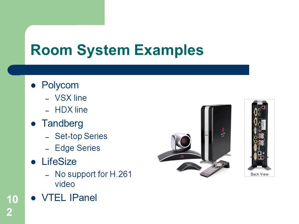Room System Examples Polycom Tandberg LifeSize VTEL IPanel VSX line