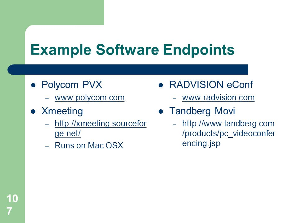 Example Software Endpoints