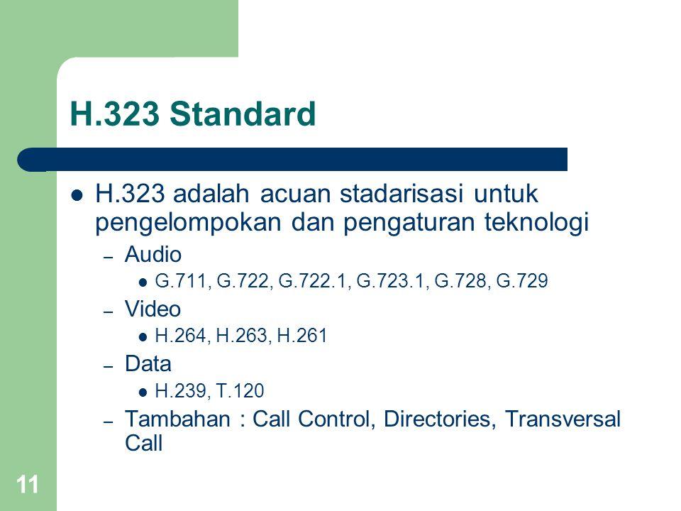 H.323 Standard H.323 adalah acuan stadarisasi untuk pengelompokan dan pengaturan teknologi. Audio.