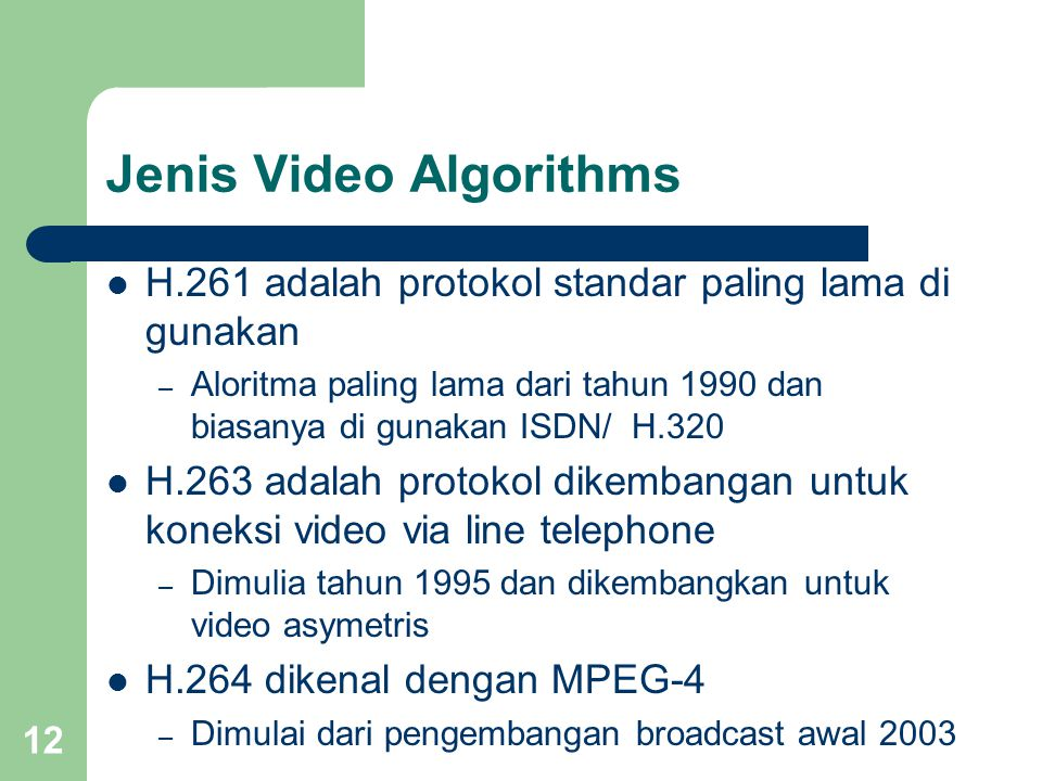 Jenis Video Algorithms