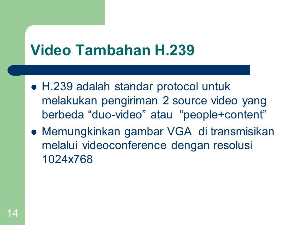 Video Tambahan H.239 H.239 adalah standar protocol untuk melakukan pengiriman 2 source video yang berbeda duo-video atau people+content
