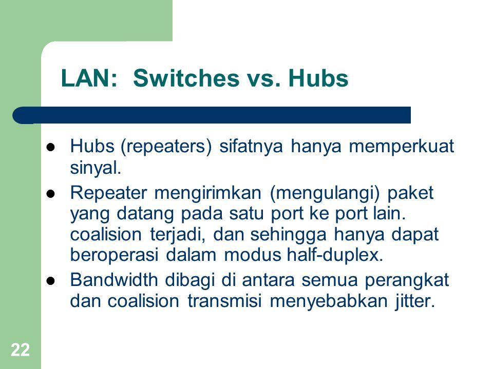 LAN: Switches vs. Hubs Hubs (repeaters) sifatnya hanya memperkuat sinyal.