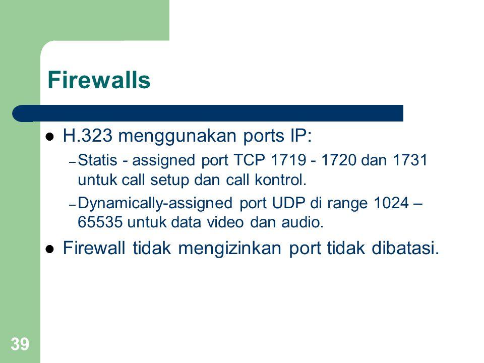 Firewalls H.323 menggunakan ports IP: