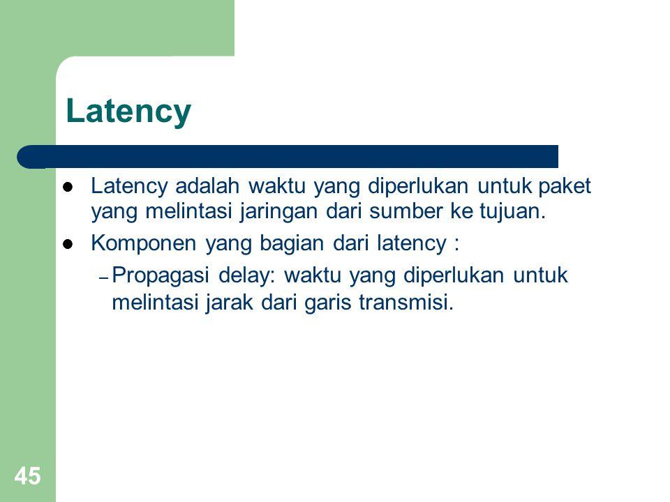 Latency Latency adalah waktu yang diperlukan untuk paket yang melintasi jaringan dari sumber ke tujuan.