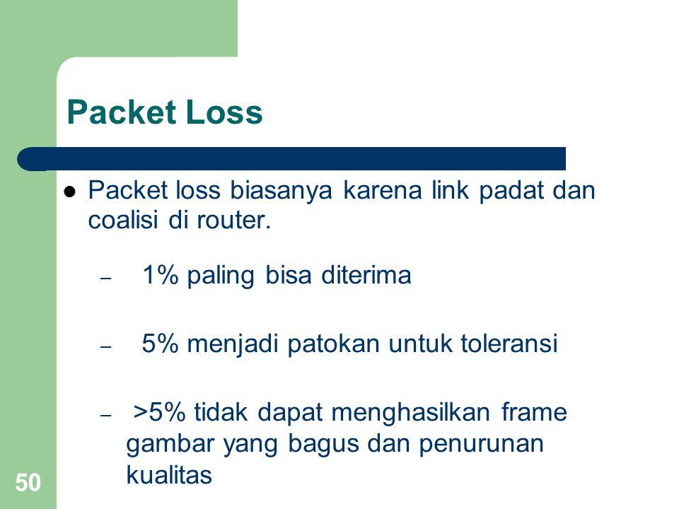 Packet Loss Packet loss biasanya karena link padat dan coalisi di router. 1% paling bisa diterima.