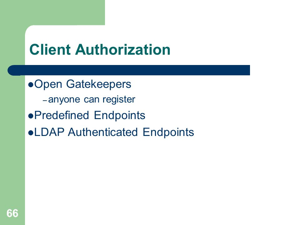 Client Authorization Open Gatekeepers Predefined Endpoints