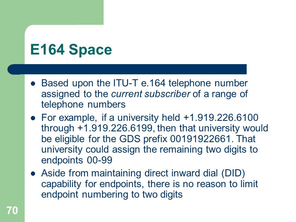 E164 Space Based upon the ITU-T e.164 telephone number assigned to the current subscriber of a range of telephone numbers.
