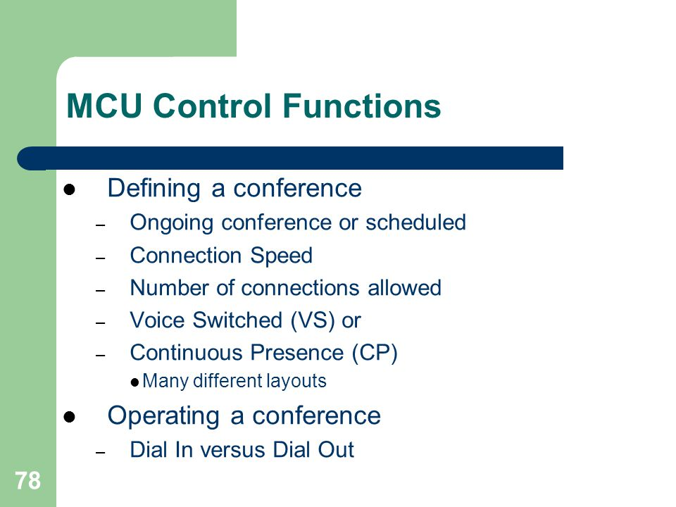 MCU Control Functions Defining a conference Operating a conference