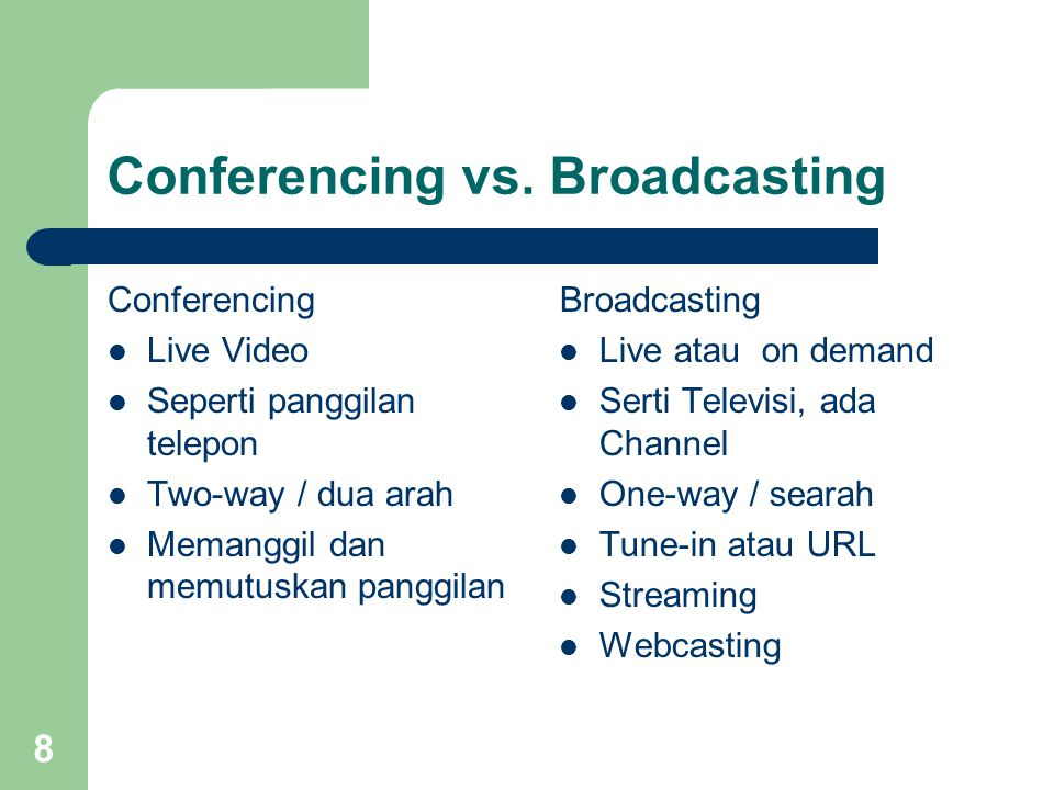 Conferencing vs. Broadcasting