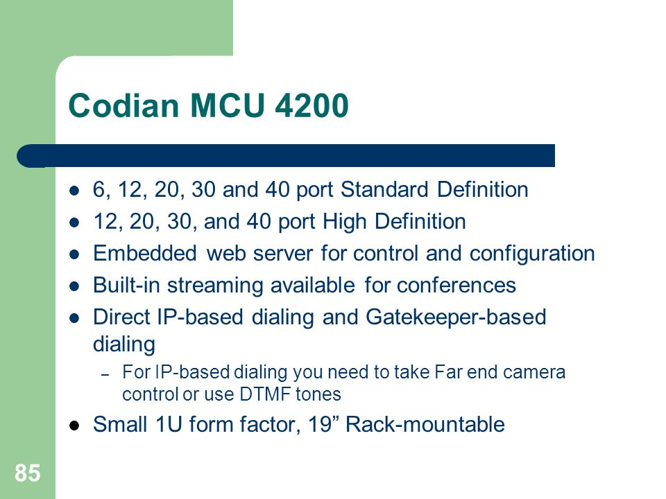 Codian MCU , 12, 20, 30 and 40 port Standard Definition