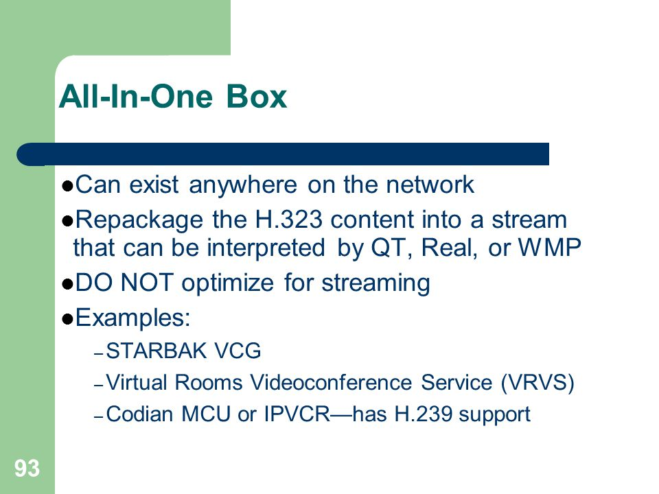 All-In-One Box Can exist anywhere on the network
