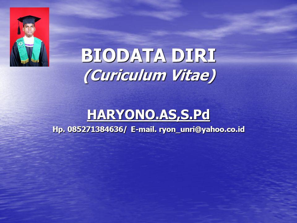 BIODATA DIRI (Curiculum Vitae)