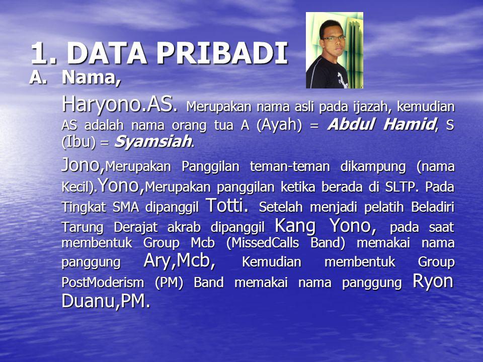 1. DATA PRIBADI A. Nama, Haryono.AS. Merupakan nama asli pada ijazah, kemudian AS adalah nama orang tua A (Ayah) = Abdul Hamid, S (Ibu) = Syamsiah.