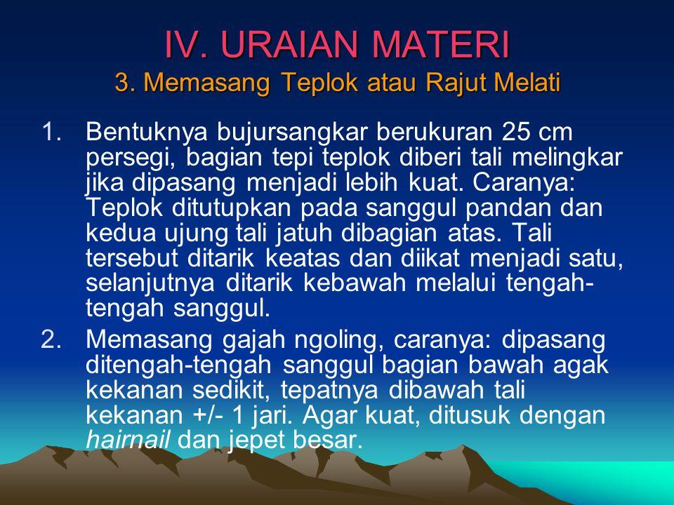 IV. URAIAN MATERI 3. Memasang Teplok atau Rajut Melati