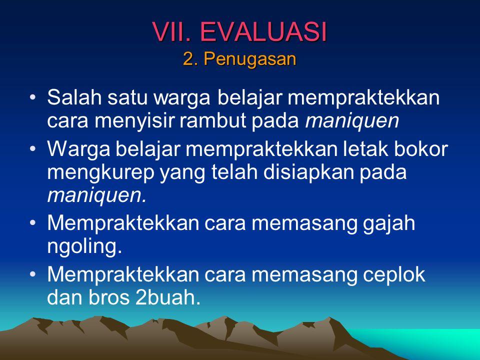 VII. EVALUASI 2. Penugasan
