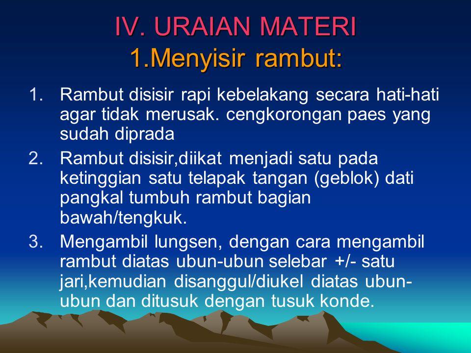 IV. URAIAN MATERI 1.Menyisir rambut: