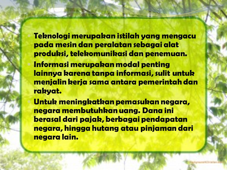 Teknologi merupakan istilah yang mengacu pada mesin dan peralatan sebagai alat produksi, telekomunikasi dan penemuan.