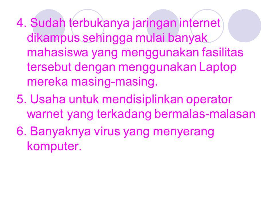 4. Sudah terbukanya jaringan internet dikampus sehingga mulai banyak mahasiswa yang menggunakan fasilitas tersebut dengan menggunakan Laptop mereka masing-masing.