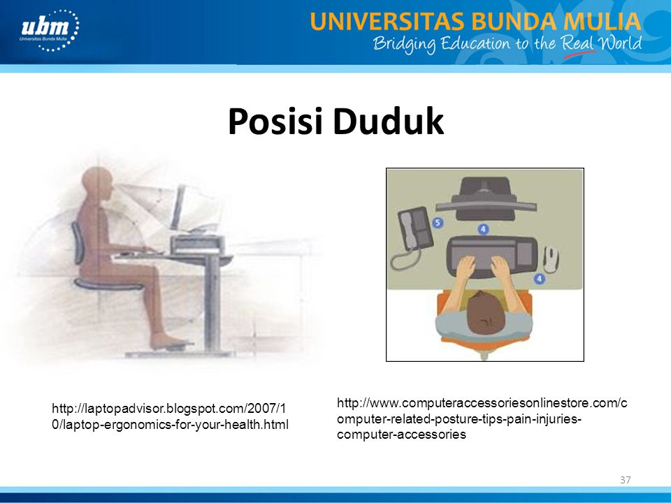 Posisi Duduk http://www.computeraccessoriesonlinestore.com/computer-related-posture-tips-pain-injuries-computer-accessories.