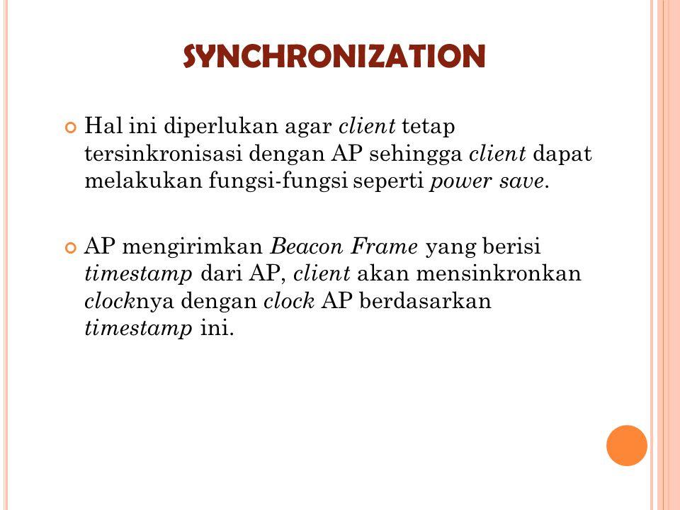 synchronization Hal ini diperlukan agar client tetap tersinkronisasi dengan AP sehingga client dapat melakukan fungsi-fungsi seperti power save.