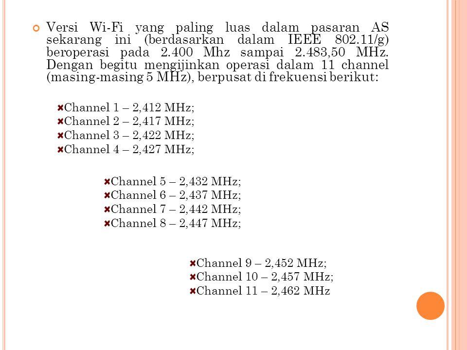 Versi Wi-Fi yang paling luas dalam pasaran AS sekarang ini (berdasarkan dalam IEEE 802.11/g) beroperasi pada 2.400 Mhz sampai 2.483,50 MHz. Dengan begitu mengijinkan operasi dalam 11 channel (masing-masing 5 MHz), berpusat di frekuensi berikut: