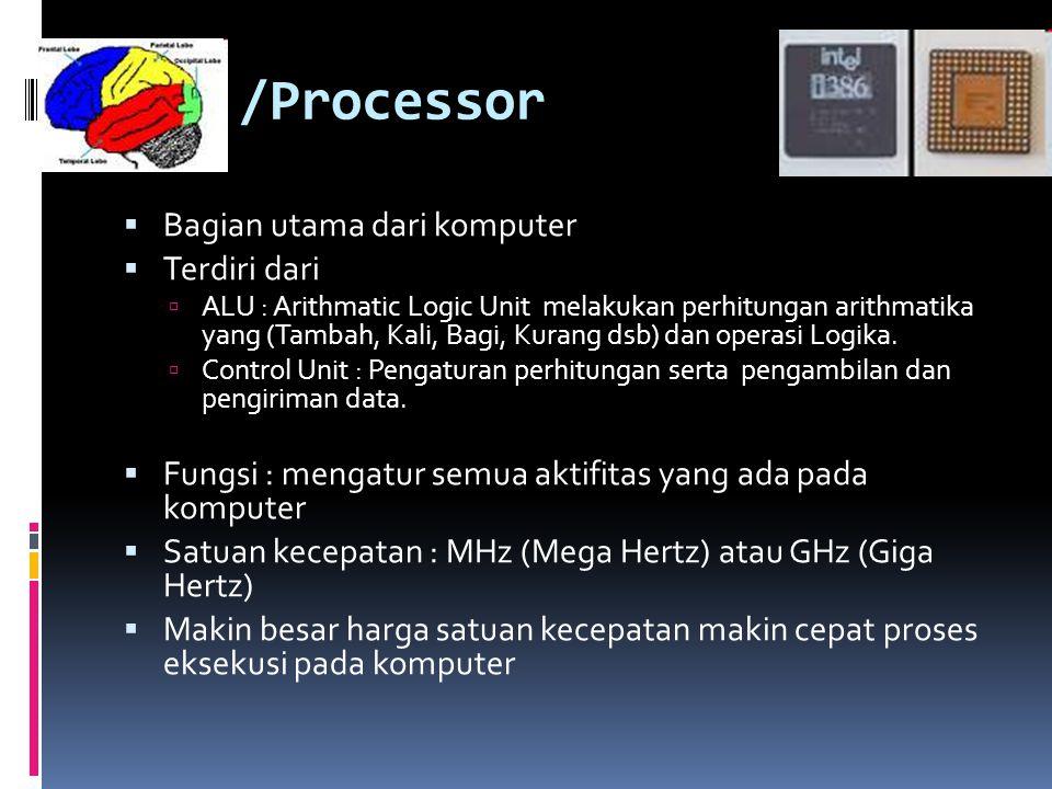 CPU /Processor Bagian utama dari komputer Terdiri dari