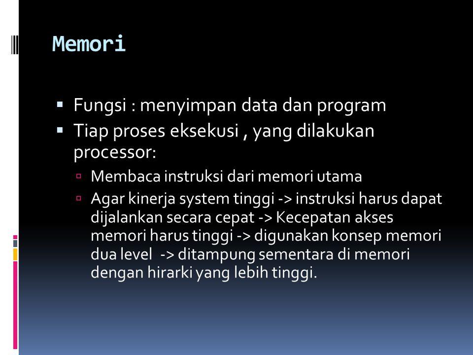 Memori Fungsi : menyimpan data dan program