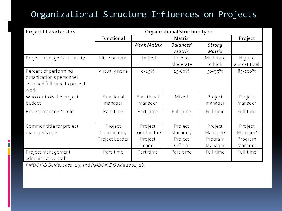 Organizational Structure Influences on Projects