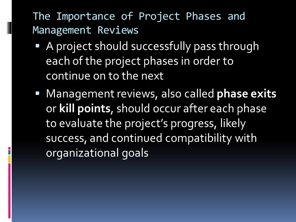 The Importance of Project Phases and Management Reviews