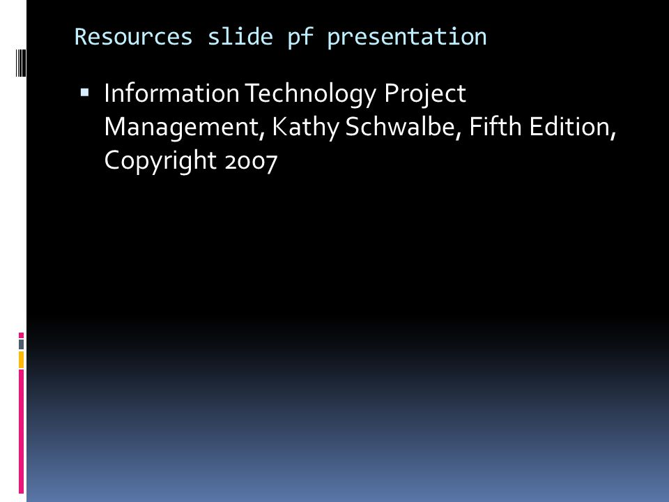 Resources slide pf presentation