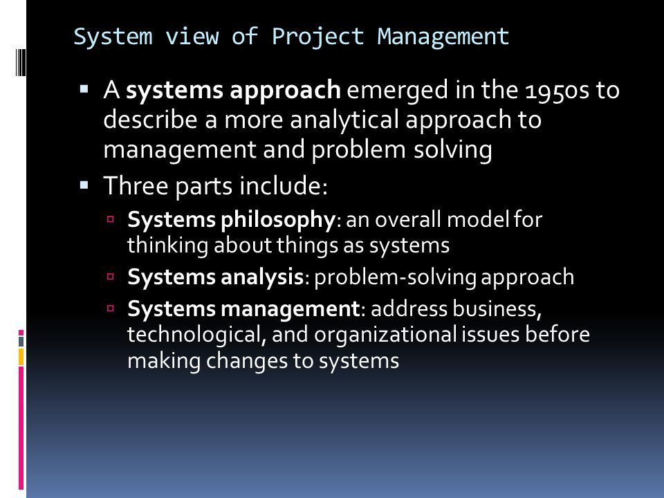 System view of Project Management